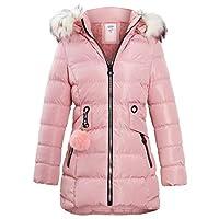 SS7 Girls Padded Coat Showerproof Parka Jacket Faux Fur Age 3 5 7 8 9 10 11 12 13 14 Black