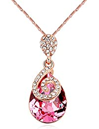 NEVI Crystals From Swarovski Rose Gold Plated Pendant With Chain For Girls & Women