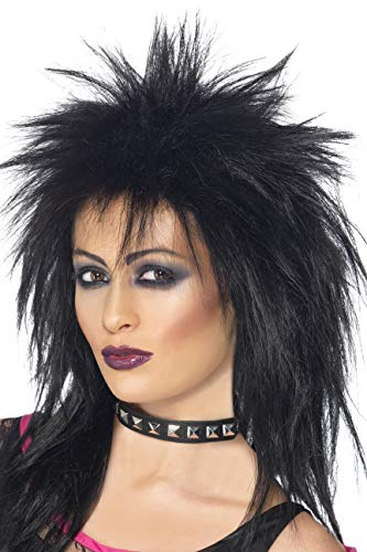 Kostüm Rock Star Accessoires - Smiffys Damen Lange Zerzauste Vokuhila Perücke, Rock Diva Perücke, Schwarz, 42238