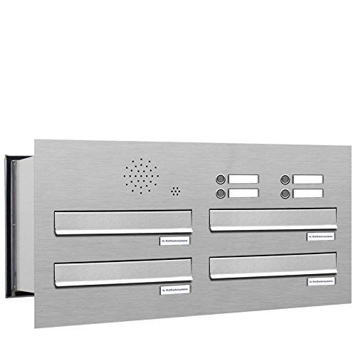 4er Premium Briefkasten Mauerdurchwurf in V2A Edelstahl mit Klingel rostfrei wetterfest als 4 Fach Durchwurfbriefkasten DIN A4 in Postkasten Design modern
