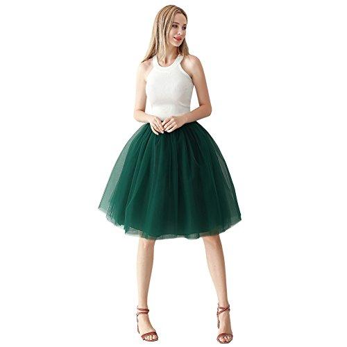 (ShowYeu Damen Mid Calf Petticoat A-Linie Tutu Tüllrock Party Abschlussball Jupe Saias Brautjungfernkleid Dunkel Grün)
