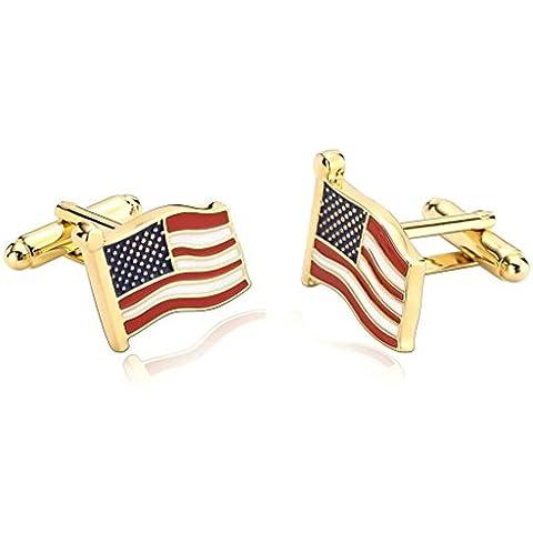 Daesar 2 Piezas Gemelos Hombre Rodio Plateado Blanco Rojo Día de La Independencia Ondeando Bandera Americana