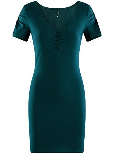 oodji Ultra Damen Enges Kleid mit V-Ausschnitt Blau (7400N)