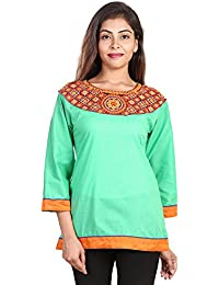 Fashion Store Women's Hand Embroidered Chicken Work Cotton Cambric Kurti ( Light- Green , X-Large)