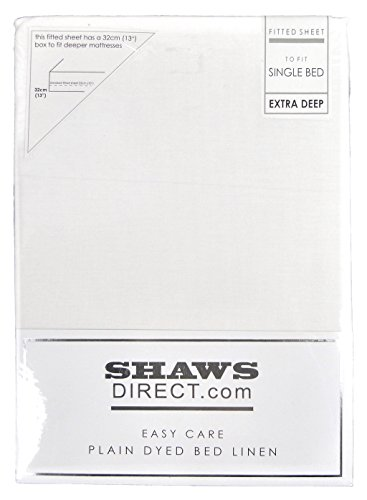 ShawsDirect Plain Dyed Poly Cotton Extra Deep Box Fitted Sheet (Single, White)