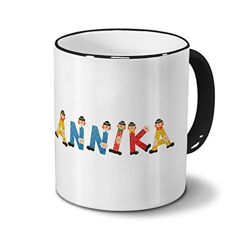 Tasse mit Namen Annika - Motiv Holzbuchstaben - Namenstasse, Kaffeebecher, Mug, Becher, Kaffeetasse - Farbe Schwarz