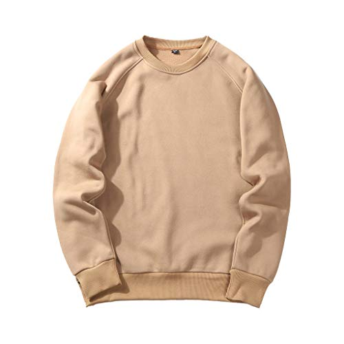 UJUNAOR Herren Langarm Hoodie T-Shirt Kapuzenshirt Mit Kapuze Männer Pullover in Vielen Farben (M, T-Khaki)