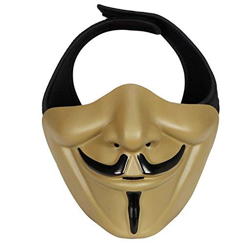 haoYK Schutzhülle mit Maske, Taktisch Paintball Maske, Kostüm Party Cosplay Halloween halbe Gesichtsmaske für Airsoft BB Gun CS-Spiel mit Maske, ()