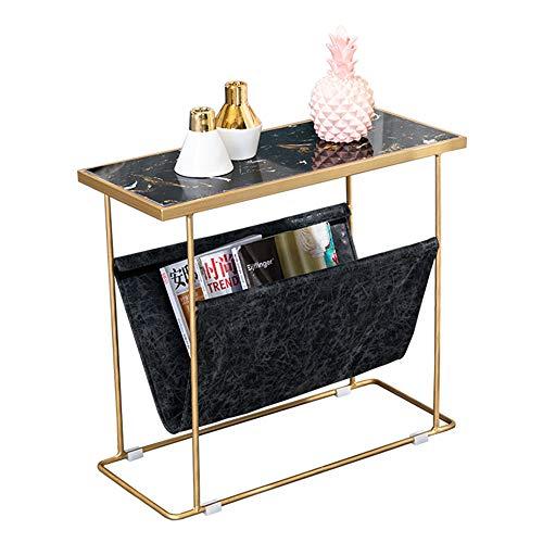 ZHIRONG Marmor Tabletop Side/Wohnzimmer Couchtisch/Telefontisch / Schlafzimmer Nachttisch / 2 Layer Storage Regal 61,5 * 26 * 54 cm (Farbe : A)