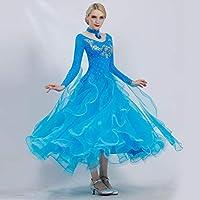 Xueyanwei Moderna Signora Grande Pendolo Rete Filato Moda Moderna Danza Abito Tango E Valzer Ballo Abito Danza Gonna Stampa Abito Manica Corta Danza Costumi Danza