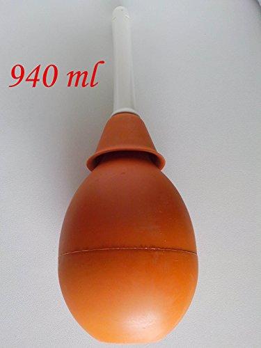 Gummi-birne Spritze (Klistier Enema Spritze Irrigator Vaginaldusche Naturkautschuk mit große starre Kanüle n. 16 - 940 ML - JONPLAST)