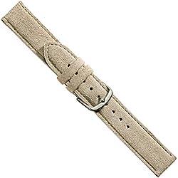 """Uhrbanddealer 18mm Ersatzband Uhrenarmband """"Venice"""" Kalbsleder Band hellgrau matt, Rauleder,241218s"""