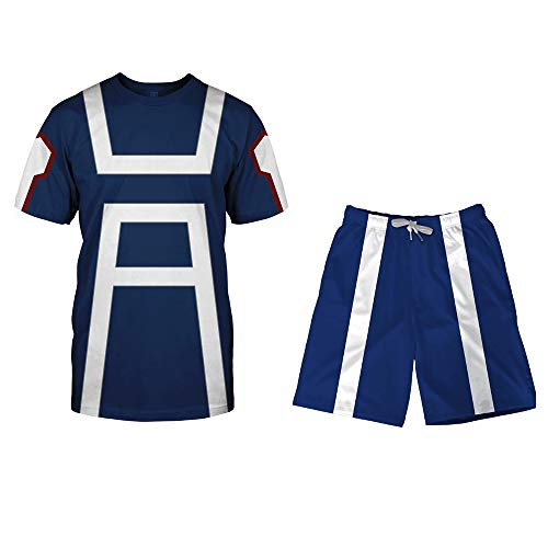 I TRUE ME Boku No Hero Academia My Hero Academia Izuku Midoriya Cosplay Costume Training Suit Crew Neck Sweatshirts Blue,shirtandshorts,L