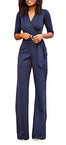 Donna Tute Elegante da Cerimonia Tuta Estiva Lungo Festa 3/4 Maniche V Collo Jumpsuit Tutine Intere Blu Scuro Playsuit Pagliaccetti Casuale Pantaloni Monopezzi