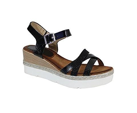 Sandale Haute Style Cuir - No Name - Spéciale Été - Black - Taille 37