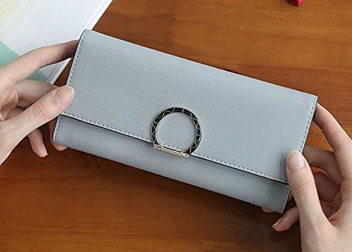 CLOTHES- Dame Wallet koreanische Version der langen runden Wölbung einfache große Kapazität frische Studenten Wallet Hand Bag ( Farbe : Blau ) Blau