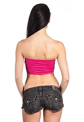 Bandeau Top Bar Trägerlos Basic Unterwäsche Underwear Pads Body Dehnbar Tube Top Lila