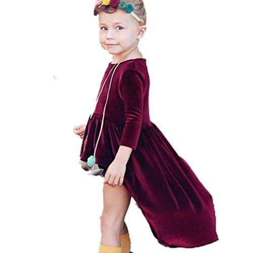 Longra Kleinkind Kinder Baby Mädchen Kleid Langarm Solid Tops Kleid Outfits Kleidung Herbst Kinder Gold velvet Kleid(0-4Jahre) (100CM 3Jahre, Wine)