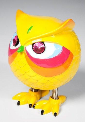 KARE Spardose Eule Angry Owl in verschiedenen Farben zur Auswahl, mit Sprungfeder-Füßen, Maße: 15 x 11 x 8 cm, Material: Polyresin, Sparschwein - Ersatz für Kinder, ideal für Geld-Geschenk, Farbe:gelb