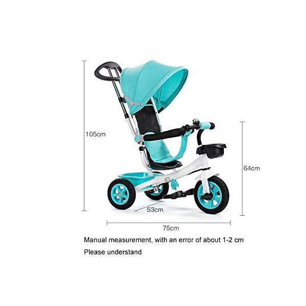 BGHKFF 4 In 1 Children's Hand Push Tricycle 8 Months To 6 Years Adjustable Handle Bar Children's Pedal Tricycle Folding Sun Canopy Blockable Rear Wheels Childrens Tricycles Maximum Weight 90 Kg,Blue BGHKFF ★Material: High carbon steel frame, suitable for children from 8 months to 6 years old, maximum weight 90 kg ★ 4 in 1 multi-function: can be converted into baby strollers and tricycles. Remove the hand putter and awning, and the guardrail as a tricycle. ★Safety design: golden triangle structure, safe and stable; guardrail; rear wheel double brake 5