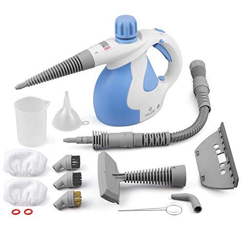 Dampfreiniger, iSiLER elektrischer Dampfreiniger mit 15 Zubehörteilen, Sicherheitsverrieglung, 350 ml Wasserbehälter, Dampfente, Handdampfreiniger f...