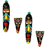 Home Decorative Terracotta Wall Hanging Multicolour Hawaian Mask Pair-27.5 Cms. -4 Pcs. Combo- Handcrafted Decorative Mask For Wall Decor, Room Decor And Gifts