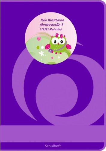 Etiquetas de nombre Escuela tiketten para niños Set con nombre personalizado diseño: búho Rosali (32piezas)