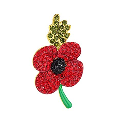 Yoursfs Stunning Red Poppy Brooch Mutic Color Diamante Crystal Scottish Fashion Jewellery Gift