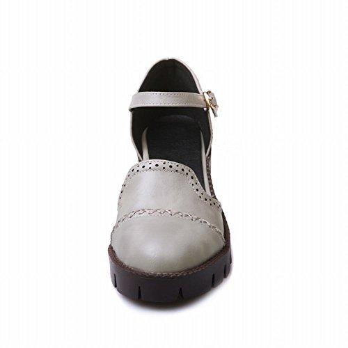 MissSaSa Femmes Escarpins Bout Ronde Talons Bloc Chaussures Plateforme Gris