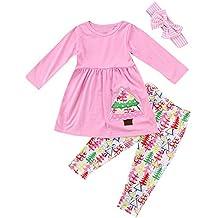 Ragazze Abbigliamento, Adolescente Planetario,Toddler Bambina Ragazzes Maniche Lunghe Albero Di Natale Stampa Top + Pantaloni + Set Fascia