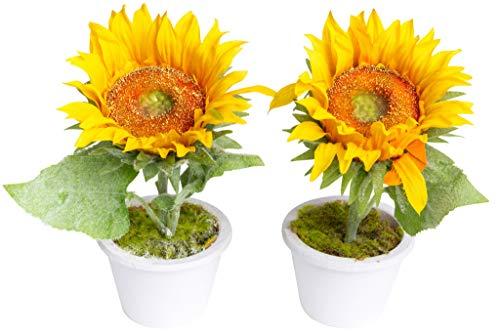 Evergreens künstliche Sonnenblume mit 2 Blättern in weißem Keramiktopf (2 Stück)