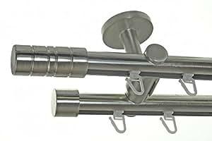 basit innenlauf gardinenstange edelstahl look 20mm deckenbefestigung 2 l ufig zylinder. Black Bedroom Furniture Sets. Home Design Ideas