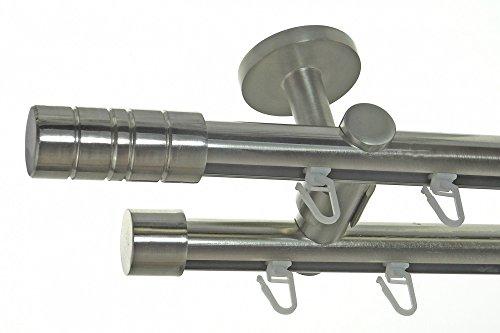 gardinenstange 2 laeufig 240 BASIT Innenlauf Gardinenstange Edelstahl Look 20mm Deckenbefestigung, 2-läufig Zylinder, Länge wählbar D40 E34E30, Länge:240 cm