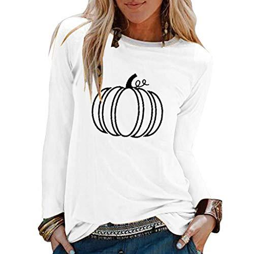 GOKOMO Halloween Costume Pullover Damen schwarz dünn lang Tops Für Damen Halloween Print Shirts O-Ausschnitt Langarm Top Lose T-Shirt Bluse(Weiß-C,Large) (Schwert Und Schädel-brettspiel)