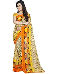 Kashvi Sarees Faux Georgette Printed Yellow Color With Blouse Piece (1426)