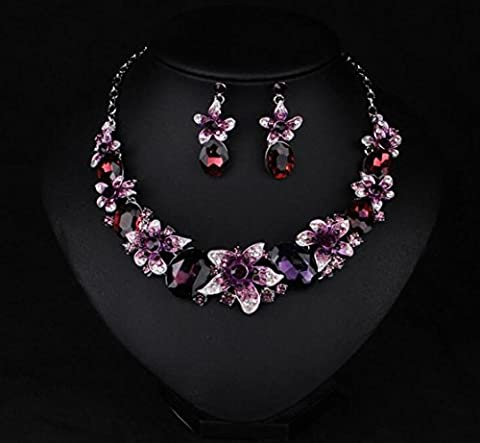 XZX Color Crystal gemstone flower Choker Necklace Earring Sets , purple