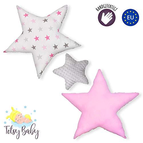 Dekokissen kinderzimmer Kissen Stern - Plüschkissen für Kinder Mädchen Zierkissen rosa grau mit Sternen Set ø 30cm u. 2 x ø 60cm