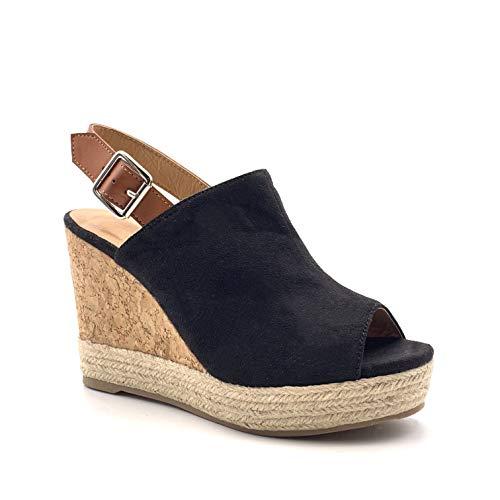 Angkorly - Damen Schuhe Sandalen Mule - Folk/Ethnisch - Böhmen - High Heels - mit Stroh - Geflochten - Kork Keilabsatz high Heel 12 cm - Schwarz W20-25 T 39