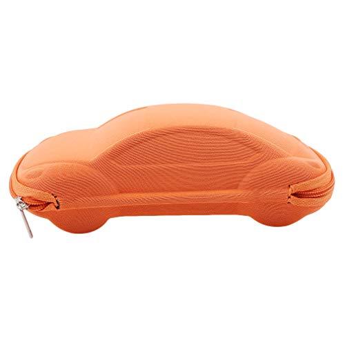 Pinhan Kinder Auto Form Reißverschluss Sonnenbrille Harte Gläser Fall Brillen Gläser Aufbewahrungsbox, Orange