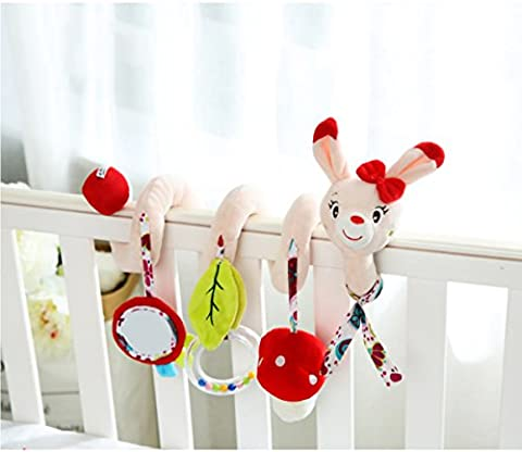 Infant Baby Activity Spiral Travel Pram Bed Hanging Soft Toys with Musical Ringing Bells and Mirror for Car Seat Pushchair