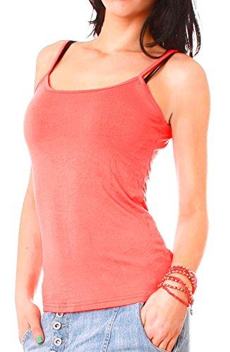 Damen Basic Spaghetti-Top Träger Top uni Hemdchen einfarbig Shirt one-size für Größe Gr 34 36 38 XS S M Corall
