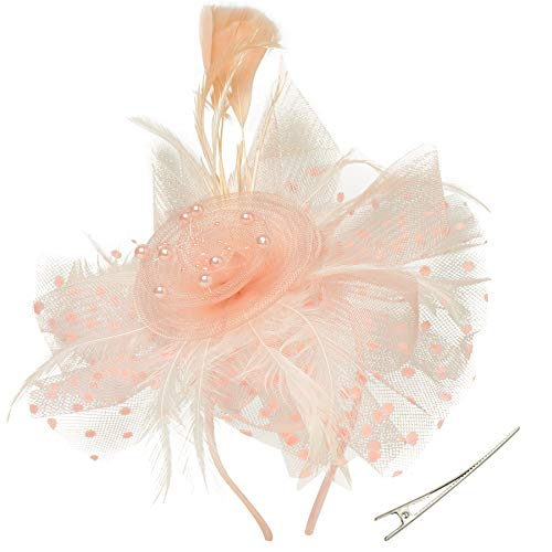 ArtiDeco Fascinators Hut Damen Cocktail Party Fascinator Haarreif Englische Tee Party Accessoires (Champagner)