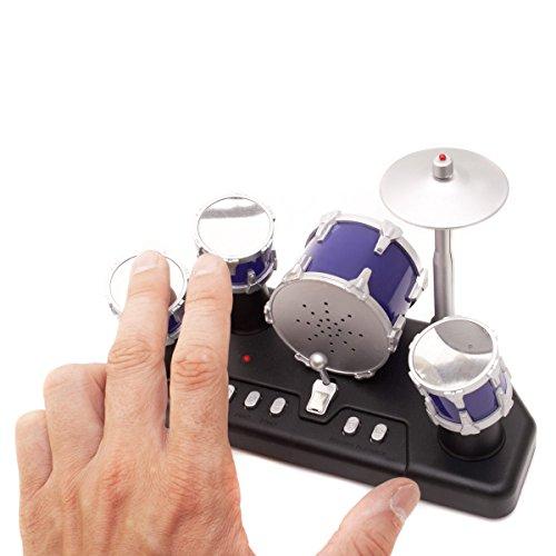 Goods & Gadgets Elektrisches Mini Schlagzeug - Elektronische Micro Finger-Drums mit Aufnahmefunktion
