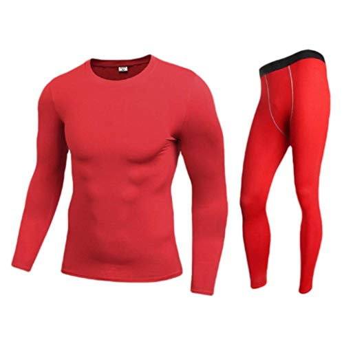 CuteRose Mens Fast Dry Stretch Bodysuit Pure Colour Thermal Underwear Set Red L Juicy Velour Hoodie
