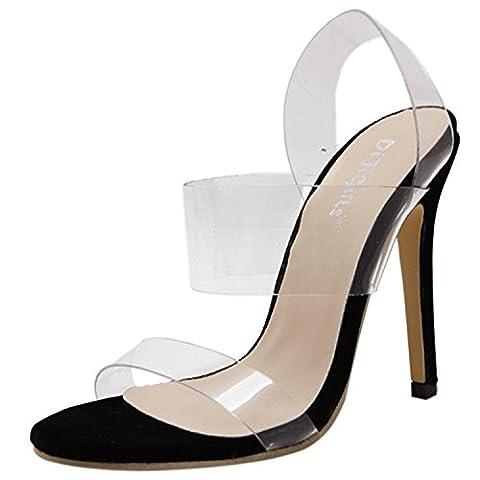 Oasap Women's Peep Toe Stiletto Heels Transparent Slingback Sandals, Black EURO38/US7/UK5