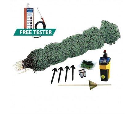 *Rutland 28-162R Elektrozaun Geflügelnetz Set, 25 m, grün, Spannungstester #14-173R GRATIS*