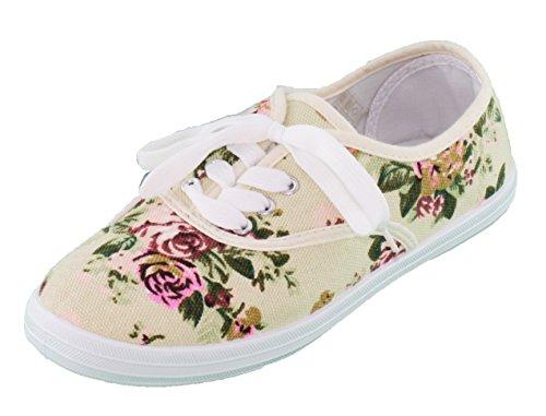 brandsseller Damen Freizeitschuh Leinenschnürer Ballerina Sneaker Rosen/Blumen-Muster - Beige Geblümt - Gr: 39 von (Sneaker Mit Blumen, Frauen)