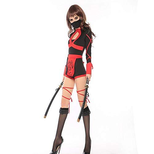 Weibliche Ninja Für Kostüm Erwachsene - Shishiboss Erwachsenes Halloween-Kostüm, weibliches Japanisches Samurai-Ninja-Kostüm, Erwachsenes Rollenspiel-Kostüm, Langarm-Overall mit Schleife/Maske für Halloween-Party und Themenparty,XL
