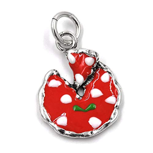 Solid Silver Enamelled Pizza Margherita Pendant