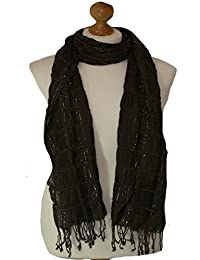 Brown elasticated scarf with lurex adornment (brown) 792-br